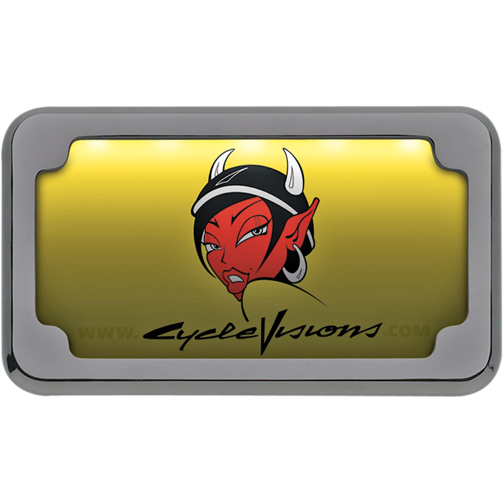 Cycle Visions Beveled License Plate Frame - Chrome - with Plate Light