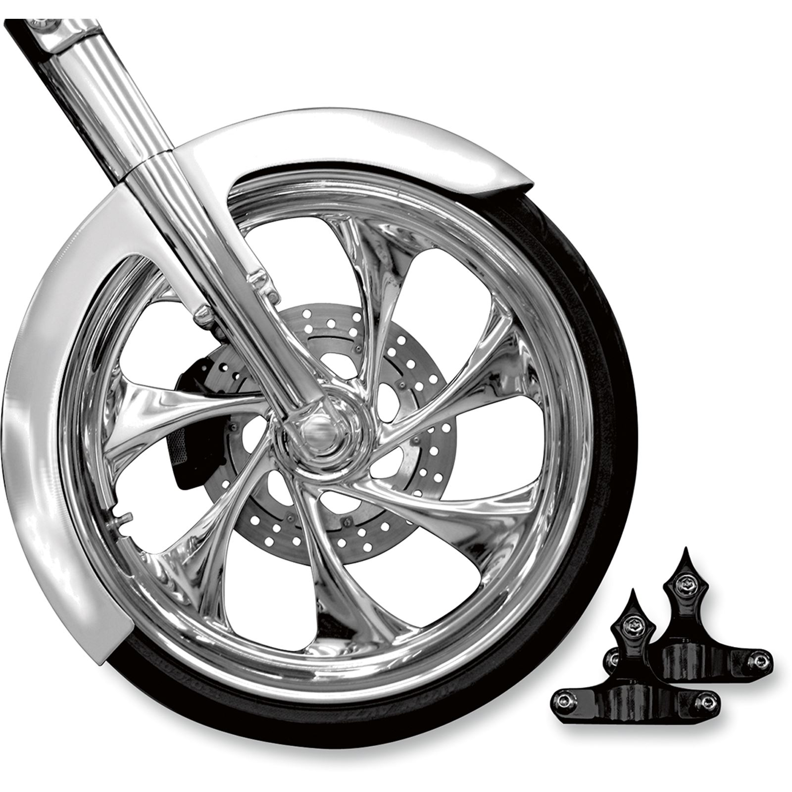 """RC Components Phantom Front Fender Kit with Black Adapters for 23"""" Wheel"""