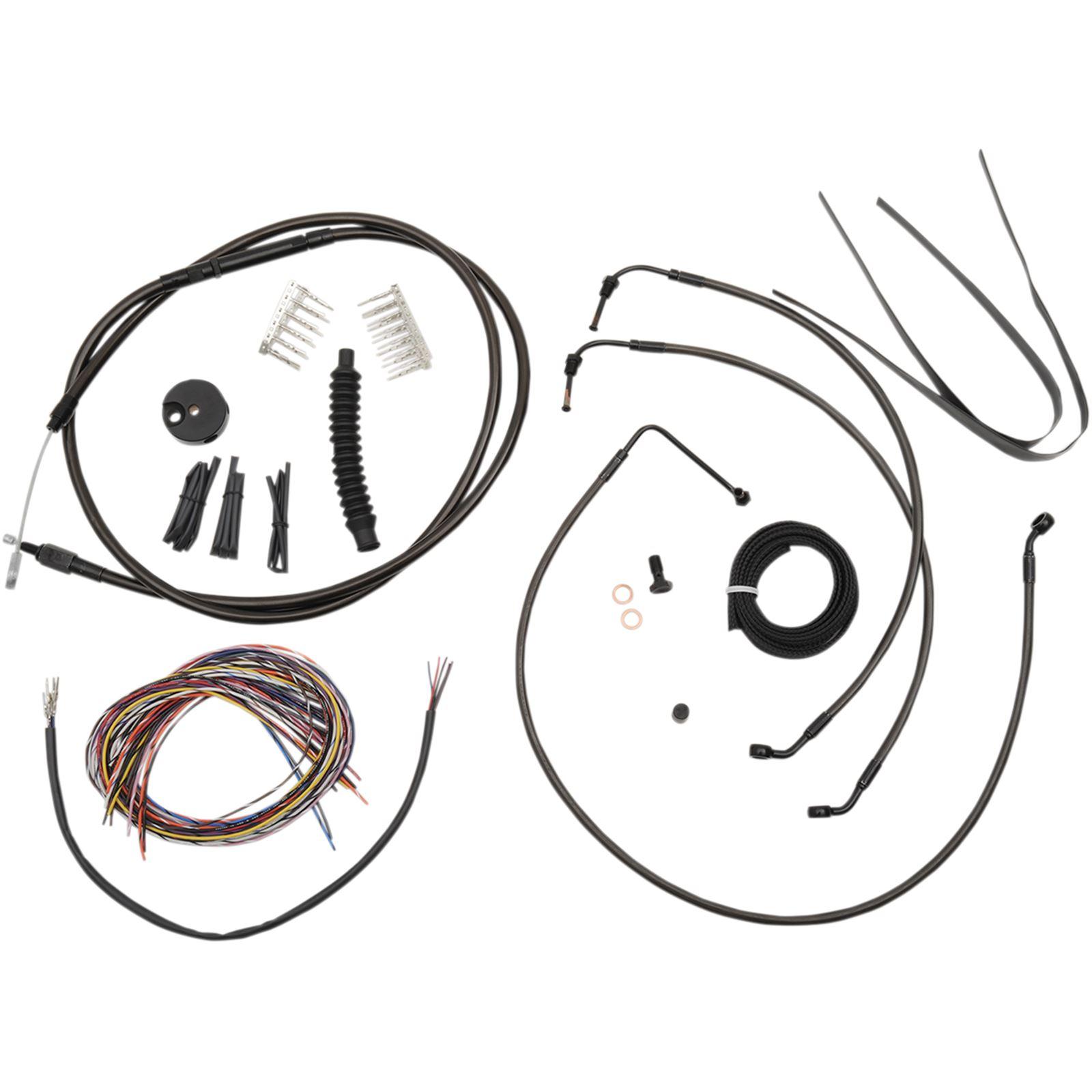 "LA Choppers Midnight Cable Kit for 15"" - 17"" Ape Hanger Handlebars"