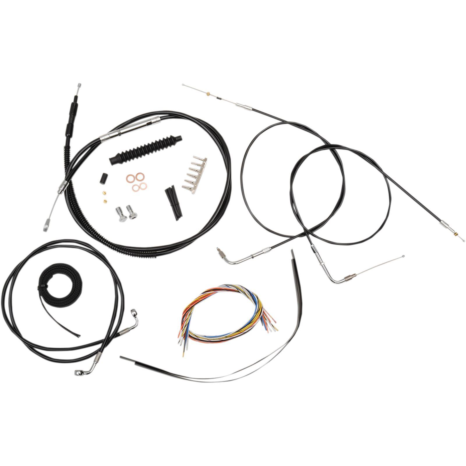 """LA Choppers Complete Black Vinyl Braided Handlebar Cable/Brake Line Kit For 12"""" - 14"""" Ape Hanger Handlebars"""