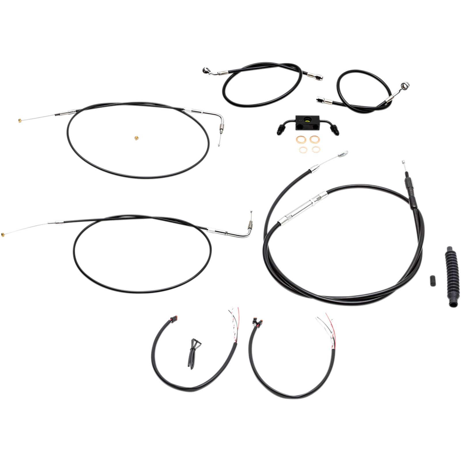 """LA Choppers Black 18"""" - 20"""" Cable Kit for FXDF with  ABS"""