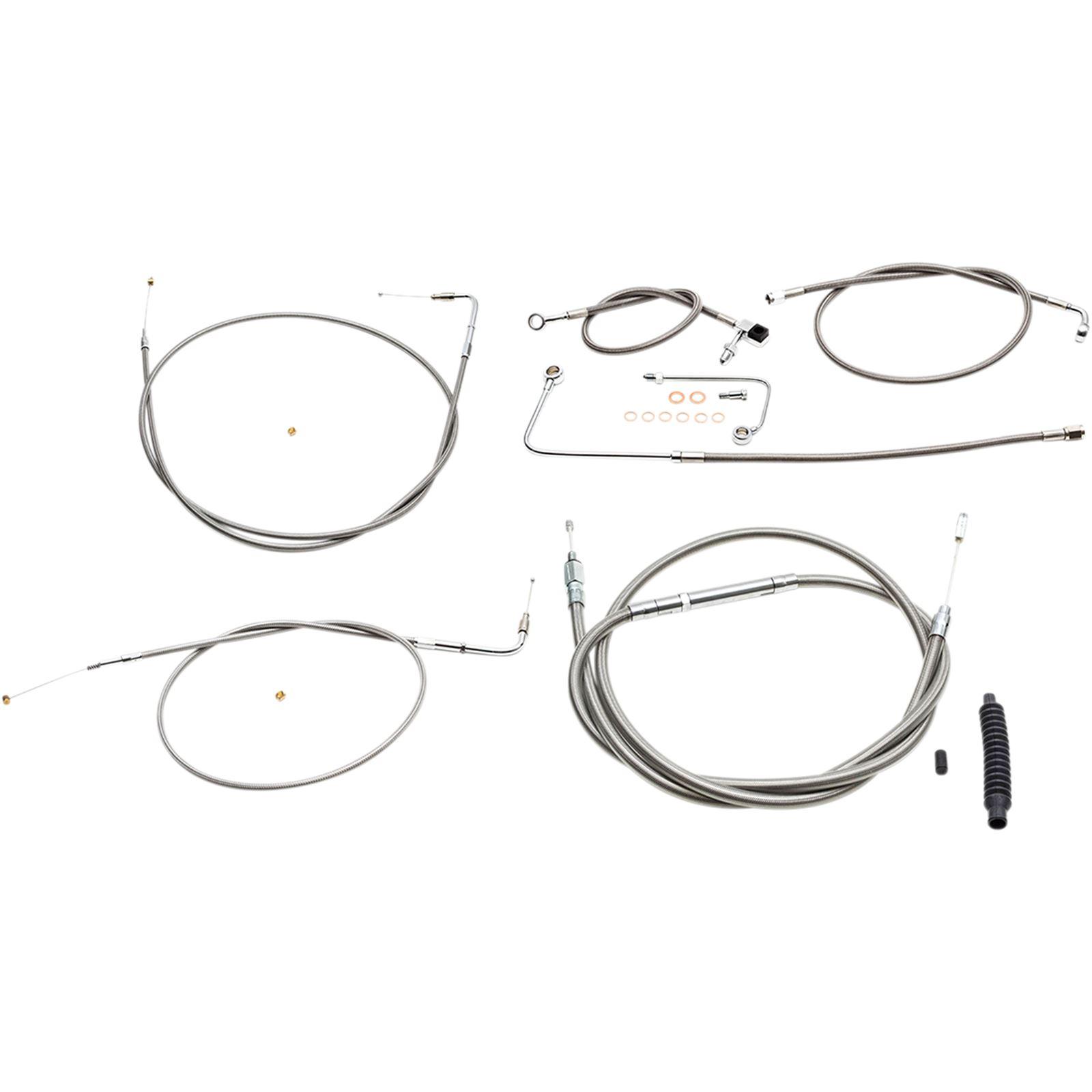 LA Choppers Standard Stainless Braided Handlebar Cable/Brake Line Kit For Beach Bar Handlebars
