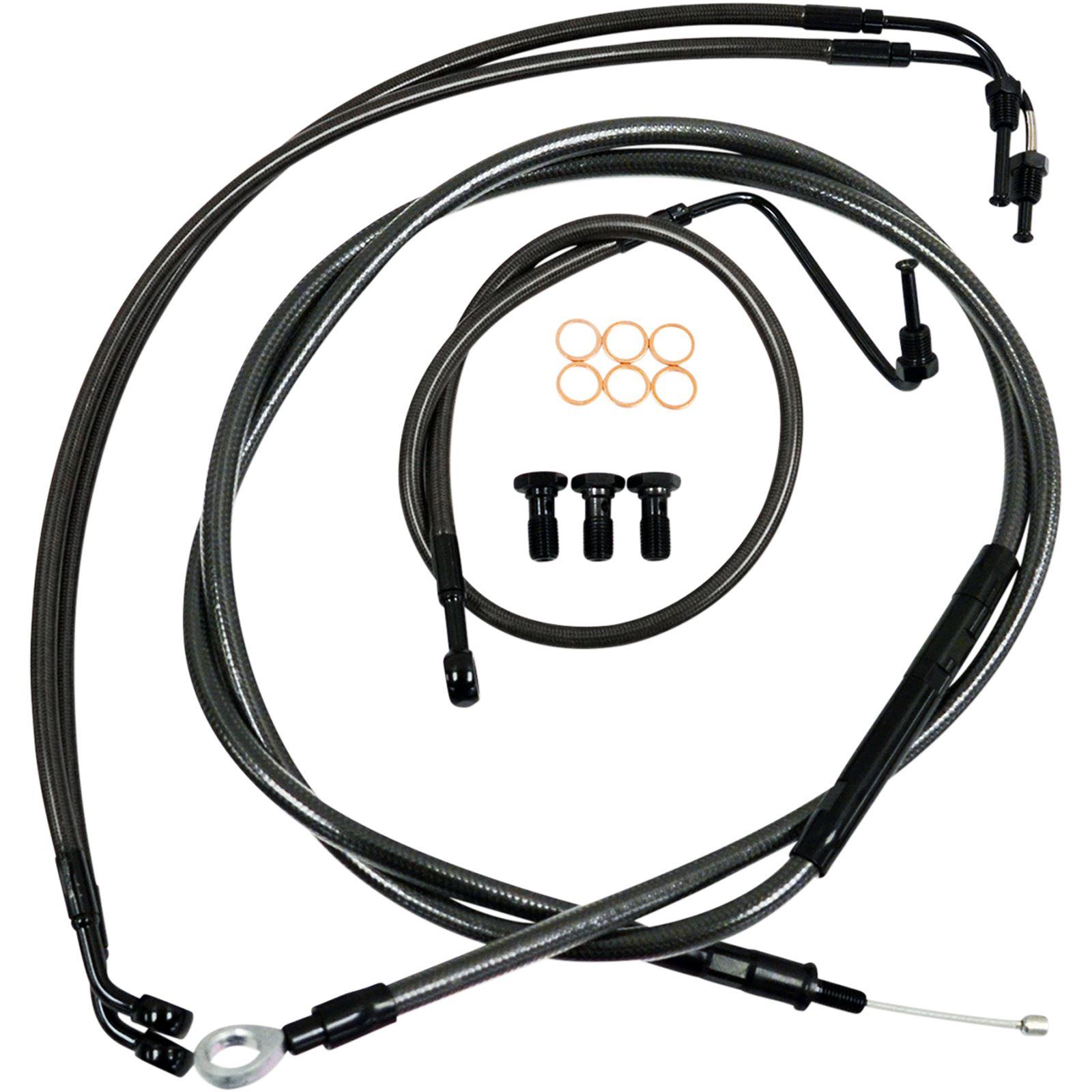 """LA Choppers Standard Midnight Braided Handlebar Cable/Brake Line Kit For 15"""" - 17"""" Ape Hanger Handlebars"""