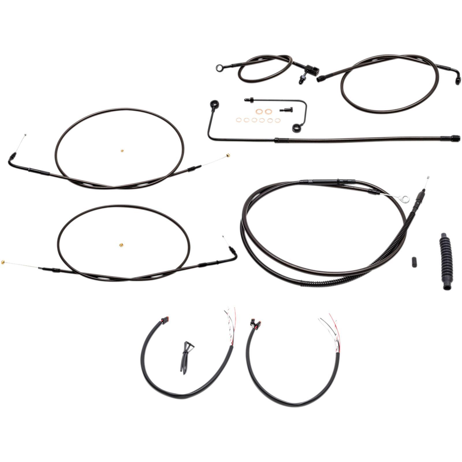 "LA Choppers Midnight Cable Kit for 12"" - 14"" Ape Hanger Handlebars"