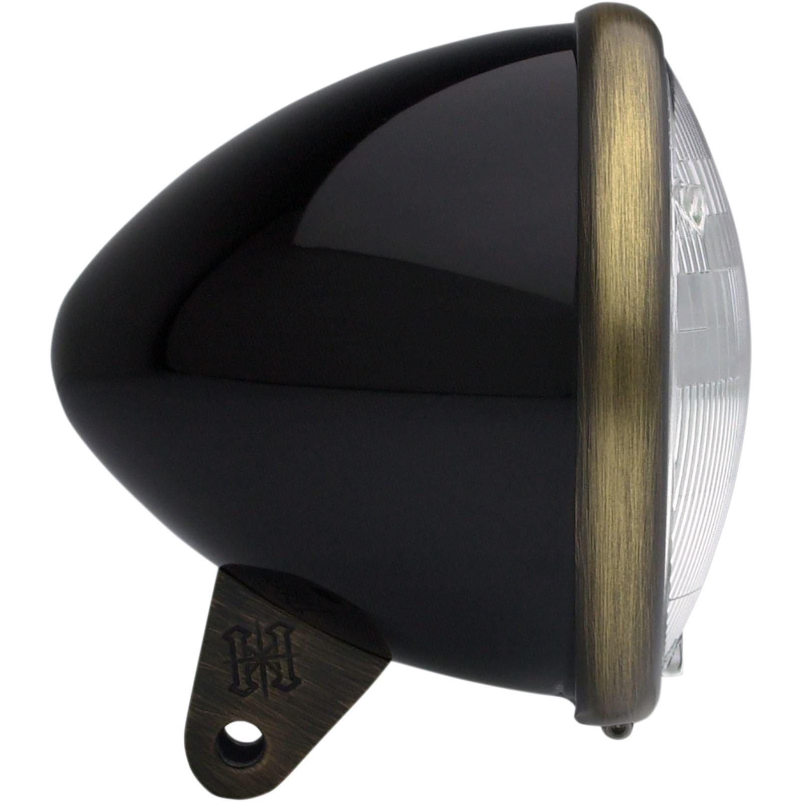 """Headwinds 5.75"""" Headlight Housing - Bullet Smooth - Black/Antique Brass"""