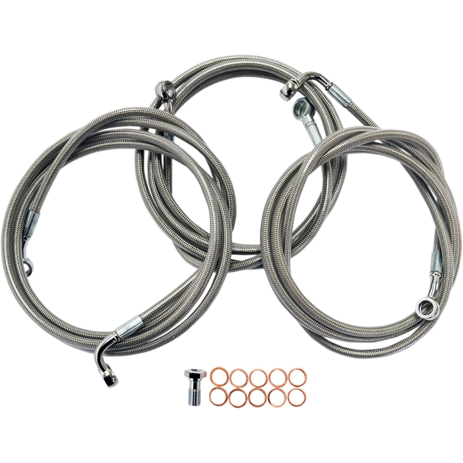 LA Choppers Stainless Steel Brake Lines - Touring ABS