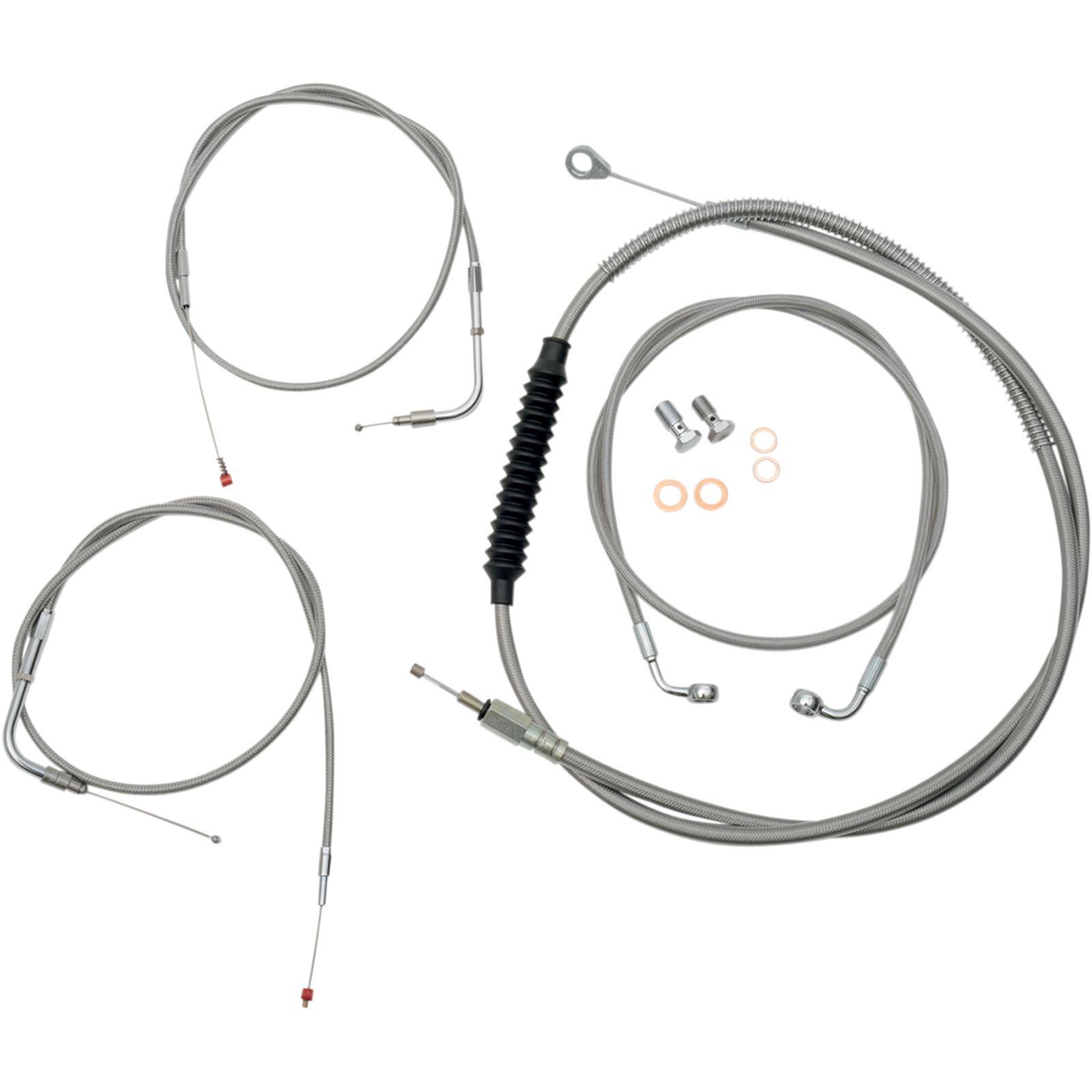 LA Choppers Standard Stainless Braided Handlebar Cable/Brake Line Kit For Stock Ape Hanger Handlebars