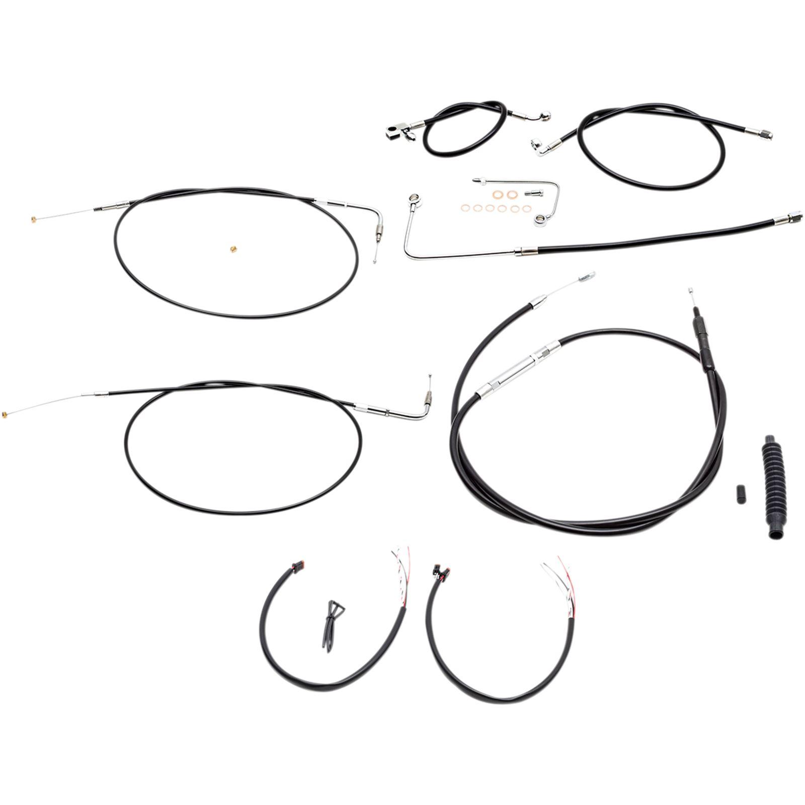 """LA Choppers Complete Black Vinyl Braided Handlebar Cable/Brake Line Kit For 15"""" - 17"""" Ape Hanger Handlebars"""