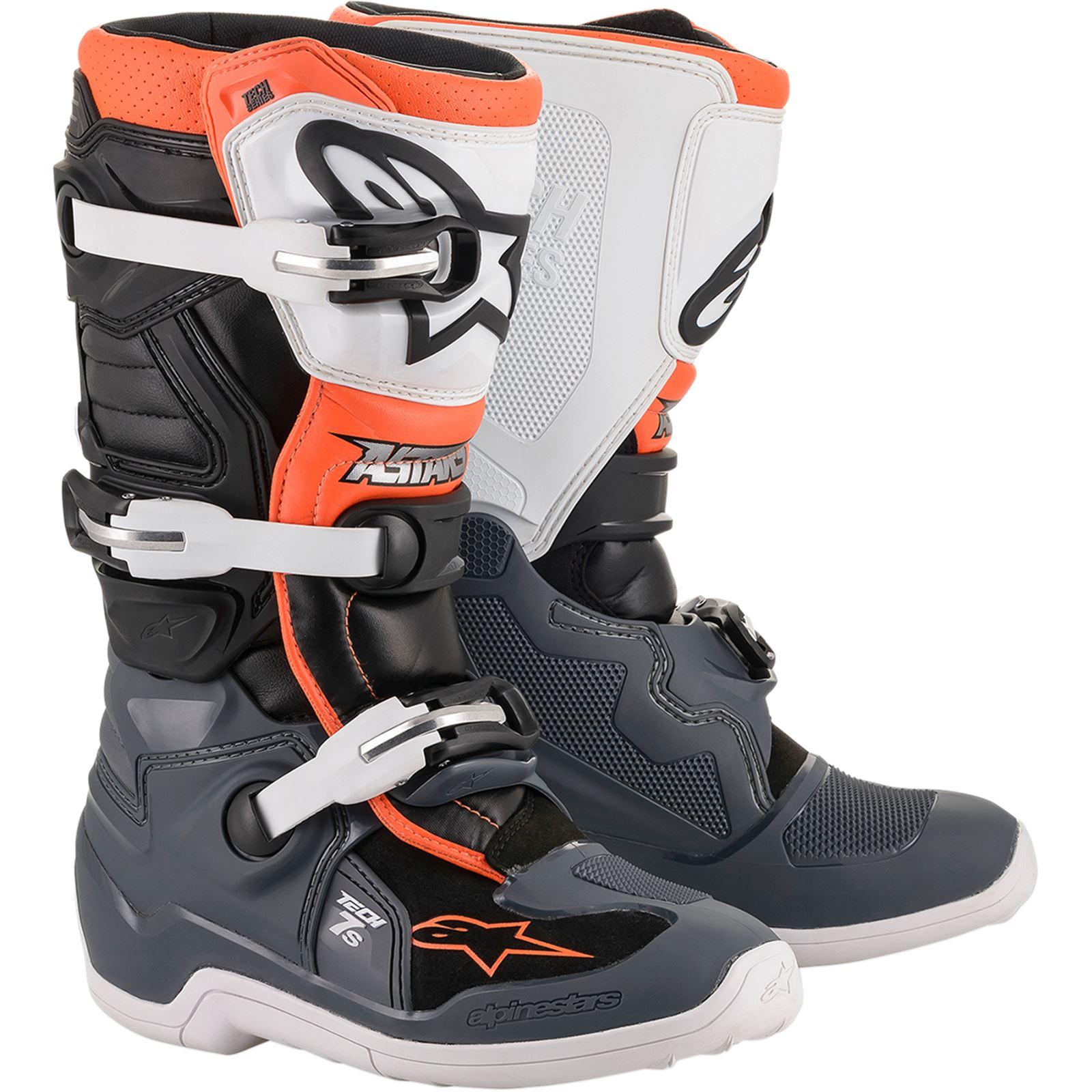 Alpinestars Tech 7S Boot - Black/Grey/White/Orange Fluorescent - Size 8