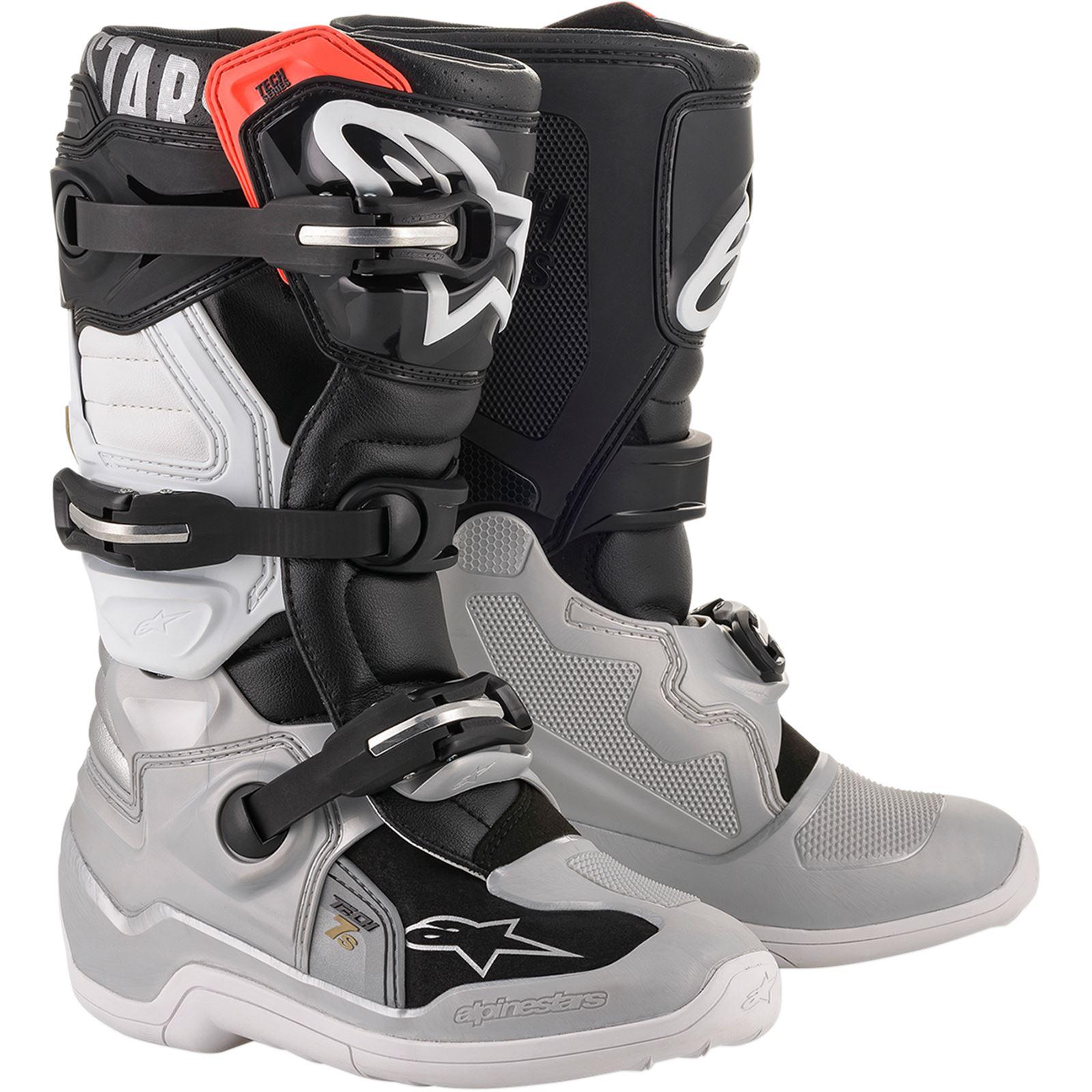 Alpinestars Tech 7S Boot - Black/Silver/White/Gold - Size 7
